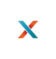 logo blue and orange x letter mockup design vector image vector image