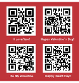 Love and Valentine Day readable QR Codes vector image