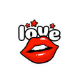 love label sticker a kiss a message red lips vector image