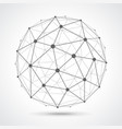 low poly sphere from dots and lines isolated vector image
