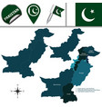 map of pakistan with administrative units vector image vector image