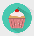 Muffin with Cream and Cherry on top in dotted vector image