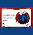 paper cut theatre festival landing page vector image vector image