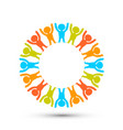 people in a circle on white background vector image