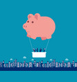 piggy bank hot air balloon with business team vector image vector image