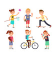 playing children with toys happy kids vector image vector image