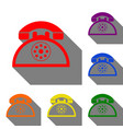 retro telephone sign set of red orange yellow vector image vector image