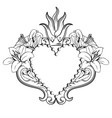 sacred heart jesus beautiful ornamental heart vector image
