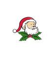 Santa Claus Father Head Christmas Holly Cartoon vector image