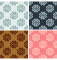 seamless geometrical flowers pattern set vector image vector image