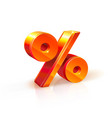 shiny orange red 3d percent sign isolated vector image vector image