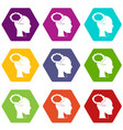 speech bubble with human head icon set color vector image vector image