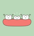 tooth growing up from gum and other teeth vector image vector image