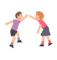 two boys giving high five cheerful friends vector image vector image