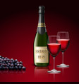 two wineglass of champagne with bottle and grapes vector image vector image