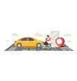 woman using smartphone ordering taxi mobile vector image vector image