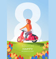 creative 8 march greeting card happy international vector image