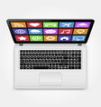 laptop with icons top view vector image