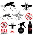 Set of mosquito icons Zika virus alert vector image