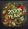 2020 hand drawn doodles chalk board vector image