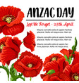 anzac day remembrance card red poppy design vector image