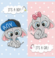 baby shower greeting card with cute elephant vector image