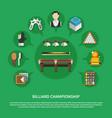 billiard championship flat composition vector image vector image