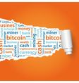 bitcoin text under paper vector image vector image