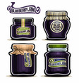 blueberry jam in glass jars vector image vector image