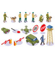 border service isometric icons vector image vector image