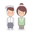burmese couple traditional national clothes of vector image vector image