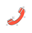 cartoon phone icon in comic style contact support vector image vector image