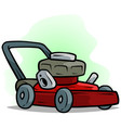 cartoon red lawn mower on green background vector image