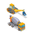 cement mixer and excavator industrial machinery vector image vector image