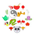 china icons set cartoon style vector image vector image