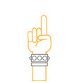 color line hand with bracelet and forefinger up vector image