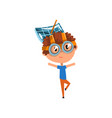 cute kid with antenna oh his head scientist boy vector image vector image