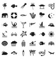 diving in ocean icons set simple style vector image vector image