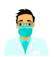doctor wearing breathing mask vector image vector image