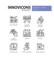 ecology - modern color single line icons vector image vector image