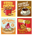 fast food design collection in retro style vector image vector image