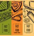 fast food vintage hand drawn flyer set vector image vector image