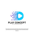 fast play logo design concept play tech logo vector image vector image