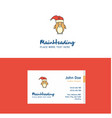 flat christmas penguin logo and visiting card vector image vector image