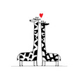 giraffes couple in love sketch for your design vector image vector image