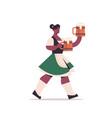 girl waitress holding beer mugs oktoberfest party vector image