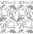 grunge elephant with plant leaves and rainbow vector image vector image