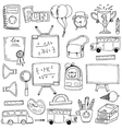 Hand draw education supplies in doodle vector image vector image