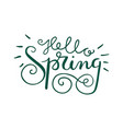 hello spring hand lettering vector image vector image