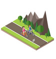 isometric countryside summer road boy and girl vector image vector image